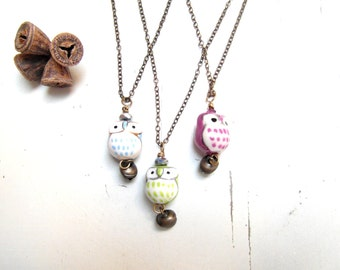owl necklace , owl talisman pendant , Eco friendly , free shipping