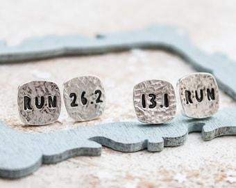 Marathon Earrings, Running Jewellery, Gift for runner, run earrings, half-marathon, personalised Earrings, Runners gift, Runners Earrings