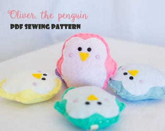 Oliver, the penguin - PDF sewing pattern, felt penguin, ornament, softie