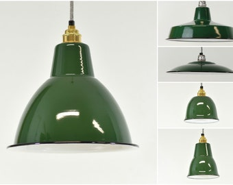 Enamel light shade etsy factory green enamel vintage industrial warehouse style light lamp shades 5 shapes aloadofball