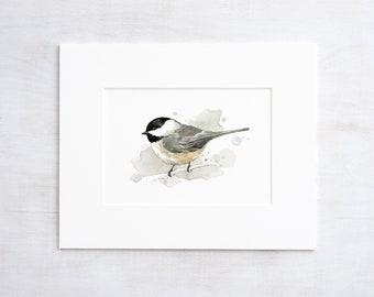Chickadee watercolor painting - 5x7 bird print