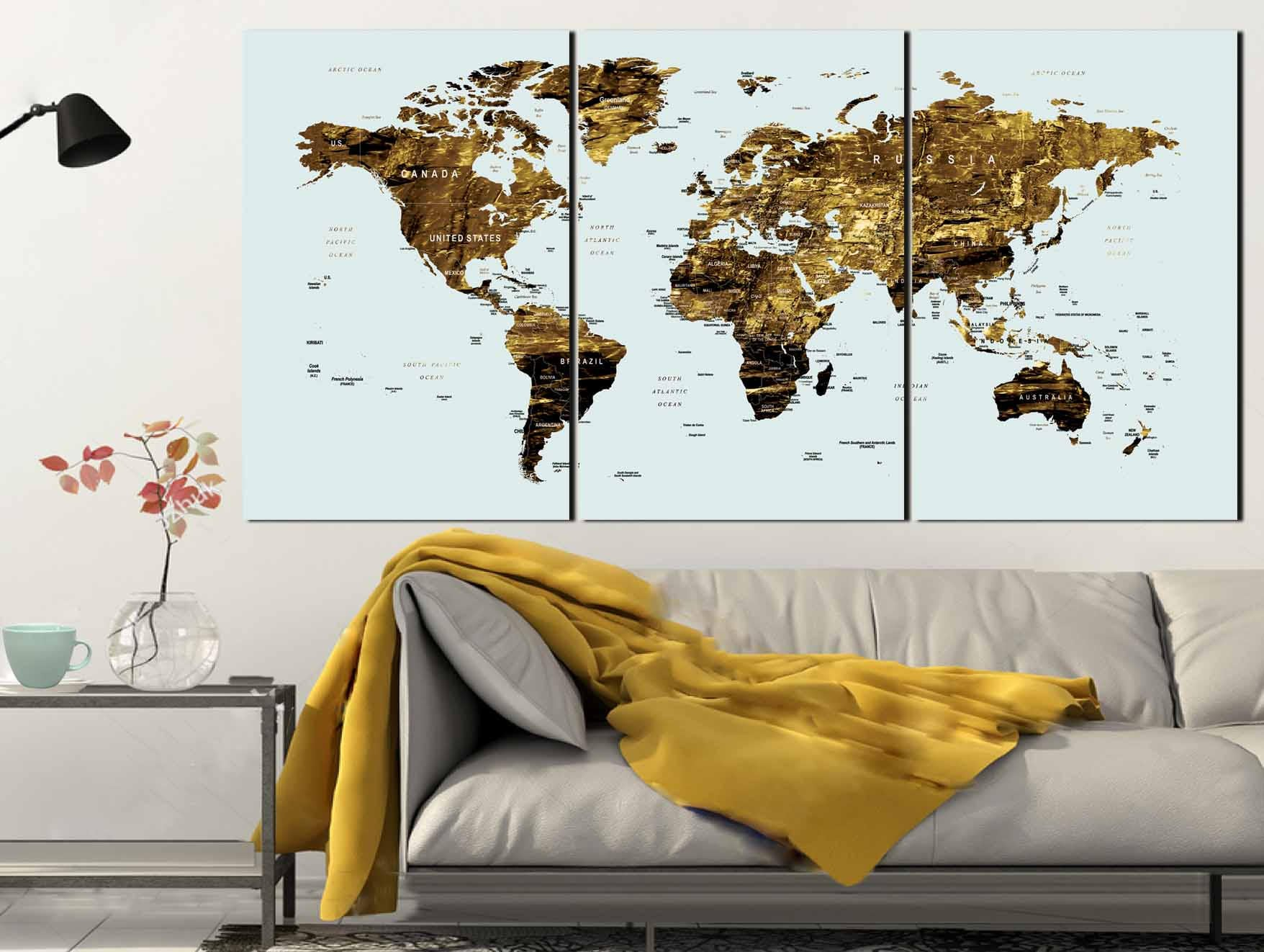 Gold color map artworld map canvas artworld map wall artlarge gold color map artworld map canvas artworld map wall artlarge world mapworld map push pinworld map printworld map artabstract map art gumiabroncs Images
