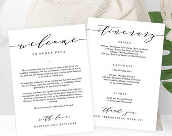 Wedding Welcome Thank You Letter and Wedding Itinerary,  DIY Wedding Welcome Bag Gift Basket Tag Instant Download Printable Template #ESC