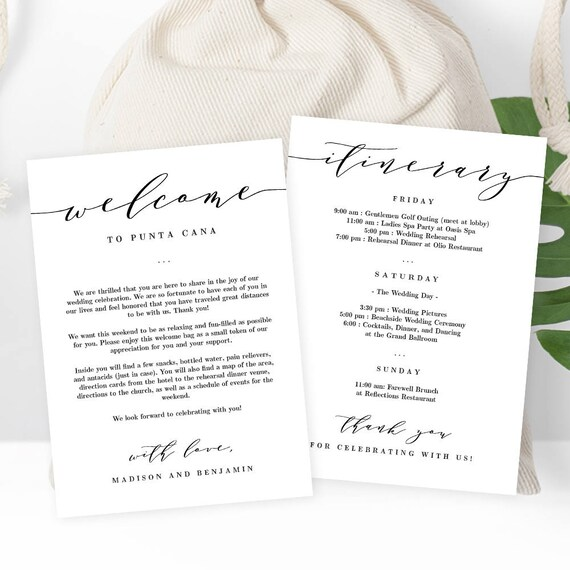Wedding Welcome Thank You Letter And Wedding Itinerary Diy