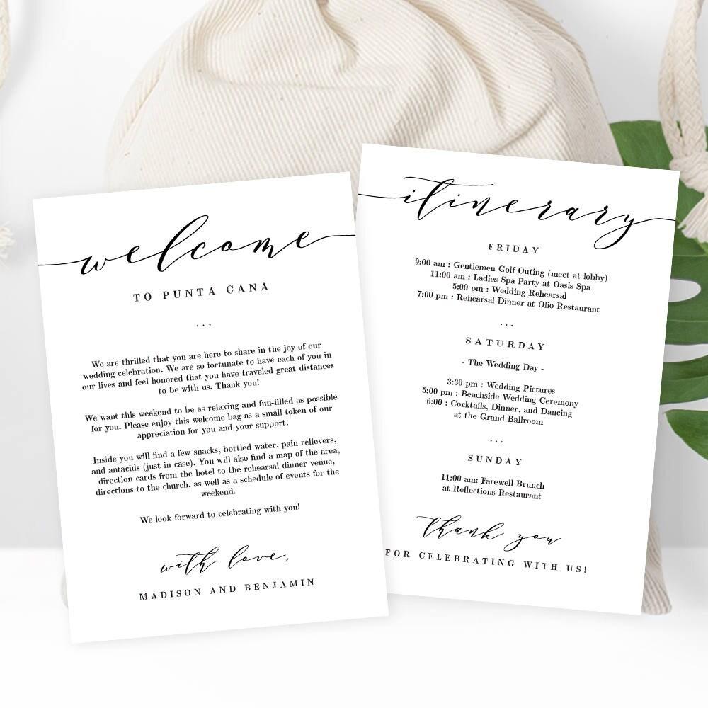 Wedding welcome thank you letter and wedding itinerary diy zoom aljukfo Choice Image