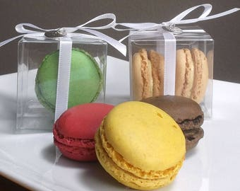 Clear Favor Boxes - Macaron Favor Boxes, Macaroon Favor Box, Wedding Favor Boxes, Gift Boxes, Favor Boxes with Lids - 2 x 2 x 2 - Set of 20