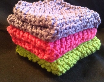 Knitted Dishcloths Set of 3 - Fluorescent