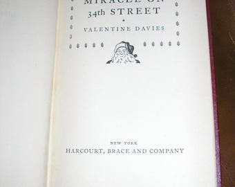 Antique, First Edition, Miracle on 34th Street, Hardcover, 1947, Valentine Davies, VG