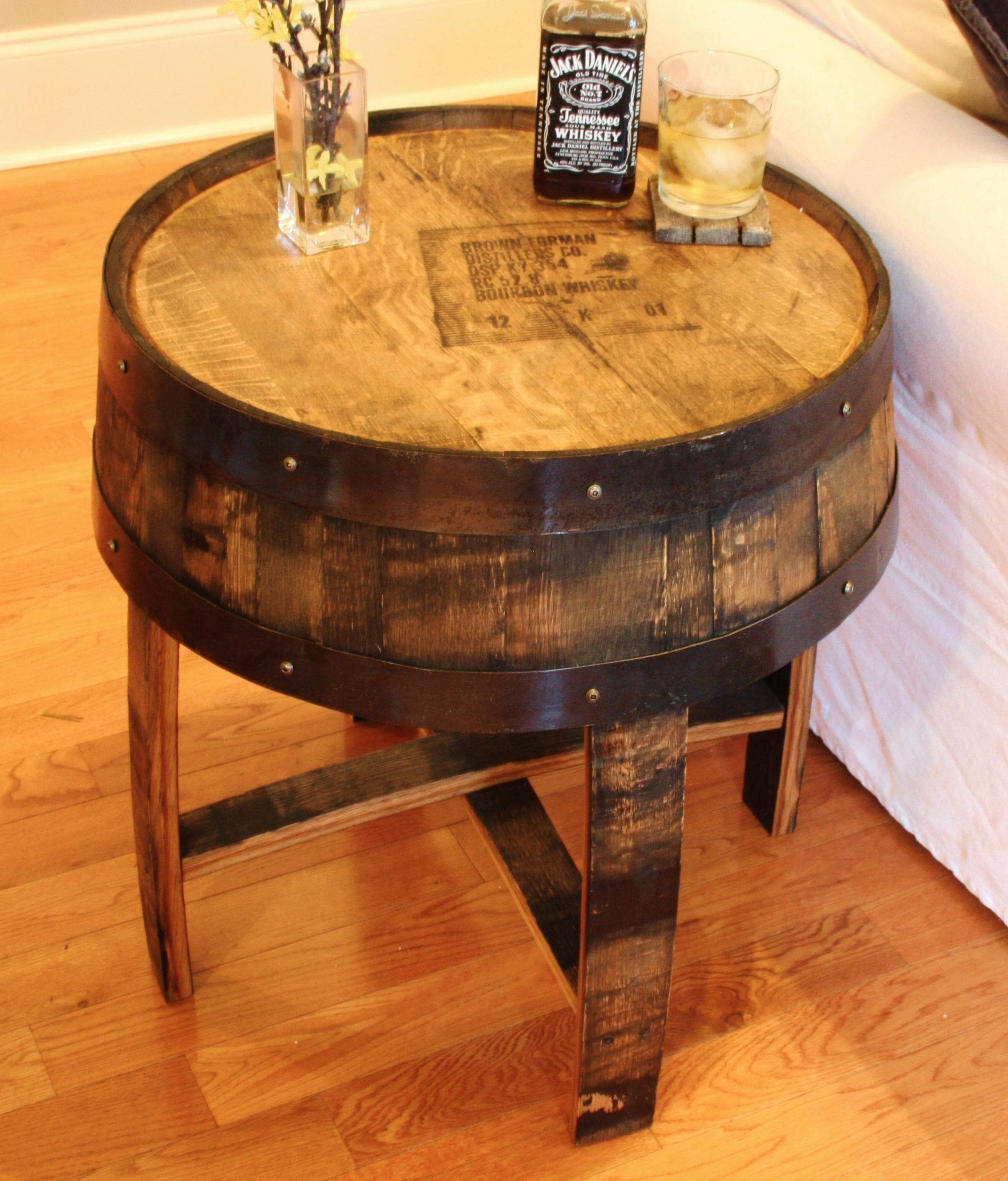 Handcrafted Oak Bourbon Whiskey Barrel End Table With