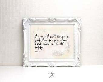 Psalm 4:8 In Peace I will lie down - Bible decor - Bible verse quote - Peace quote - Printable Wall Art - Instant download -Digital Art-