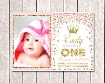 Girl Birthday Invitation Pink Gold Confetti Invites Printable 1st Birthday Invitation With Photo Princess Invitation Girl Invitation Any Age