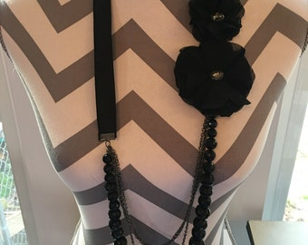 Long Black Beaded and 2 additional chains Necklace