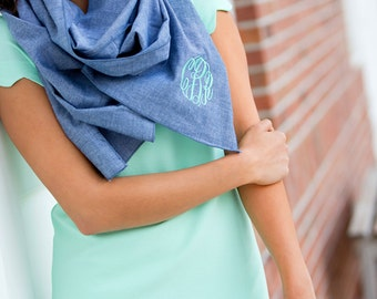 Chambray Scarf - Women's Scarf -Personalized Scarf - Monogram Scarf - Gift for Her - Initials Scarf - Women's Wrap Scarf - Monogram Gift