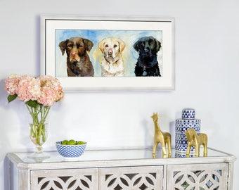 Original labrador watercolor | animal art | dogs | labrador retriever | wall decor | watercolor animals | chocolate lab | yellow lab