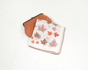 Vintage Leaf Hanky - Brown, Orange, Silver Autumn Leaves - Fall Harvest Linen Designer Faith Austin Hankie - Handkerchief