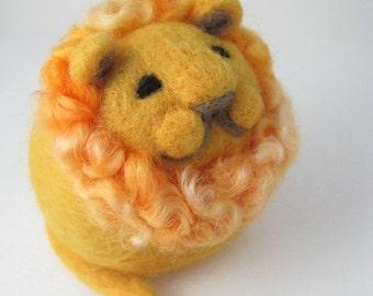 Golden Lion Needle Felted Wool Sculpture