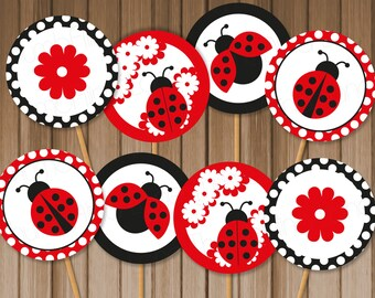 Ladybug Printable Cupcake Toppers, Instant Download - Digital File, Printable, DIY