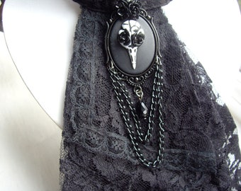 Gothic Black Raven Skull Rose Chained Brooch Badge Pin