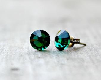 Titanium Earrings, Emerald Green Swarovski Crystal, Hypoallergenic