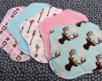 Ready to Ship 5-Pack, Reusable Cloth Pantyliner, Panty Liner, 100% Cotton Flannel, Reversible, Deer-heads Arrows Mix