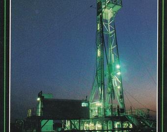 Vintage 1980s Postcard Kansas Oil Rig Drilling Industrial Gas Production Energy View Photochrome Era Postally Unused