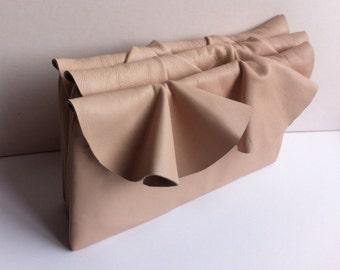 Ruffle bridesmaid clutch bag, in peach leather, small