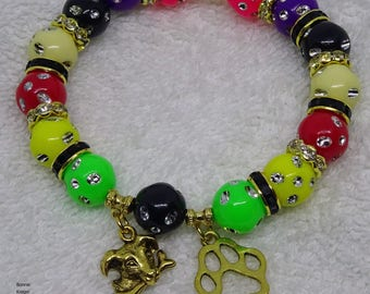 Stretch Bracelet with Dog and Paw Charms