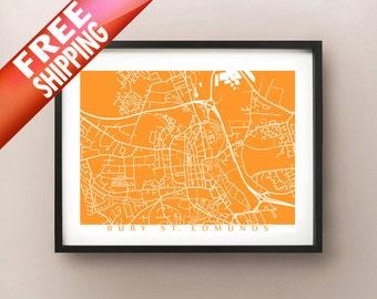Bury St. Edmunds Map Print - UK Wall Art - England Poster