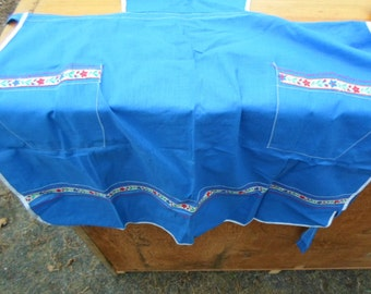 Vintage Blue Full Apron 1960s to 1970s With Red and Green Accents Like New