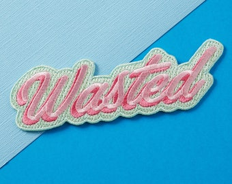 SALE* Wasted Embroidered Iron On Patch //  Custom Denim , Patch Game