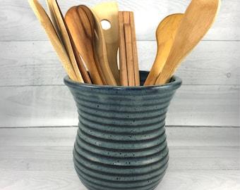 Utensil Jar, Pottery Spoon Jar,  Large Utensil Crock in our Denim Blue Glaze, Ceramic Kitchen Spoon Jar