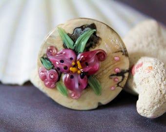 Elizabeth Creations FUSHIA LILLIES spree focal artisan lampwork bead - SRA