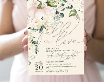 Pumpkin Bridal Shower Invitation - Fall in Love - Fall Bridal Shower - Autumn Pumpkin Shower - Faux Foil Effect Printable