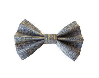 Grey and Gold Metallic Fabric Bow Hair Clips or Bow Ties - dainty and Dapper - Gold and Grey