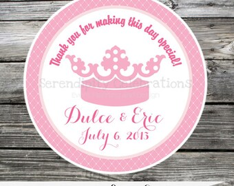 Set of 12 Personalized Favor Tags -Princess Crown -Thank You Tag -Gift Tag -Baby Shower -Birthday-Sticker-Pink Crown -Baby Girl