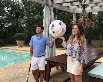 Gender Reveal Pinata Ball with Roses
