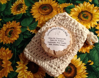 Natural Colored Soap Sock/Bag with Unscented Goat's Milk Soap Gift Set