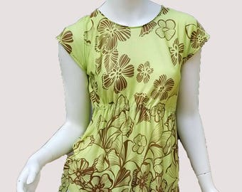 Stretch rayon jersey knit caftan top- floral green & brown (size S; US 4-6)