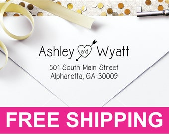 Arrow through the Heart Personalized Self Inking Return Address Stamp ATTH2770 - Free Shipping - Matching address labels available
