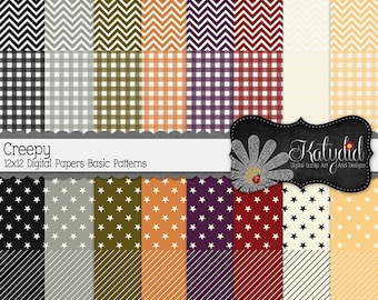 Halloween Digital Paper Creepy Digital 12x12 Basics Holiday Seasonal Papers and Backgrounds for INSTANT DOWNLOAD