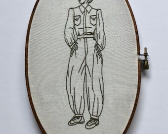 War Bird // Hand Embroidery // Wall Art // Embroidery Hoop // Home Decor // Vintage Style // WWII // Gift
