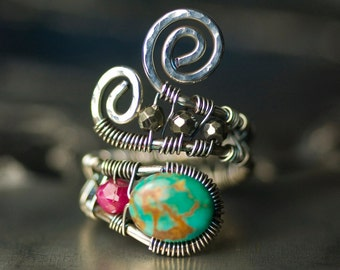 """Turquoise Ruby Pyrite Sterling Silver Wirework Ring - Raspberry Red, Natural Turquoise, Statement Ring, December Birthstone - """"Ruby Sky"""""""