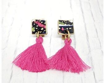 Tassel earrings Pink and black tassel earrings drop earrings nickel free earrings lightweight earrings 80's earrings graffiti earrings