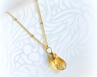 Gold Citrine Necklace, Natural Citrine Necklace, Jewelry Gift for Her, Genuine Citrine Pendant, Dainty Necklace Gold Handmade by Blissaria