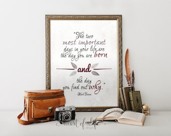 Mark Twain quote printable art Poetry art print Home office art print Inspirational quote print The two most important days quote printable