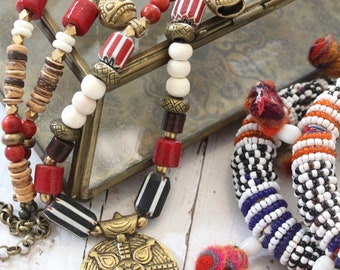 Bohemian necklace, African necklace, Ghanaian trade beads, Tribal jewelry women, long Krobo beaded necklace, Ethnic necklace by Inali
