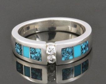 Turquoise Wedding Ring With White Sapphire Accents Set in Sterling Silver by Hileman Silver Jewelry