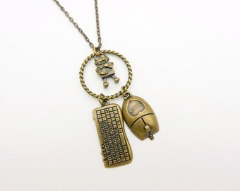 Computer Keyboard necklace, Robot Necklace