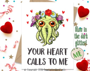 Valentines Day Card. Cthulhu Gift, Funny Valentine, Boyfriend Card, Husband Card, Card for Her, Girlfriend Card, Wife Card, Valentines Day