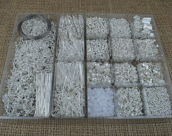 """4930 pcs BIG XXL Starter Jewelry Making Kit Silver color , Lobster Clasp , Pins , Ribbon Crimp , Spacer Beads, Jump Rings, Hook Ear , """"PPK"""""""